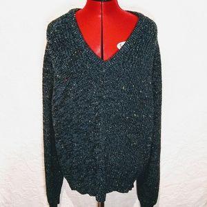 Vintage XL Chunky Knit Blue Green V-Neck Sweater